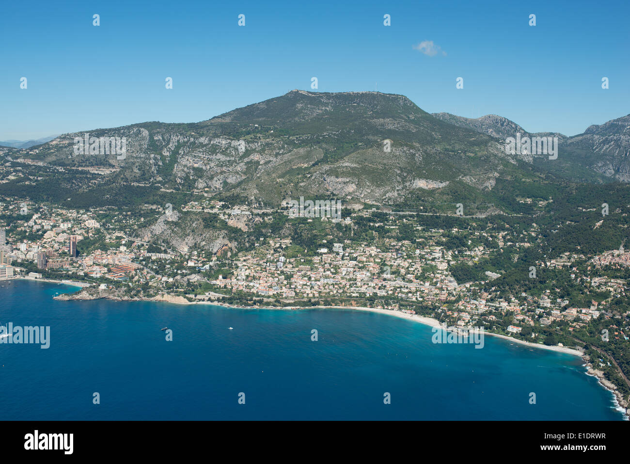 ROQUEBRUNE-CAP-MARTIN (aerial view). Seaside resort at the foot of Mont-Agel (1148 meters AMSL). Alpes-Maritimes, France. - Stock Image