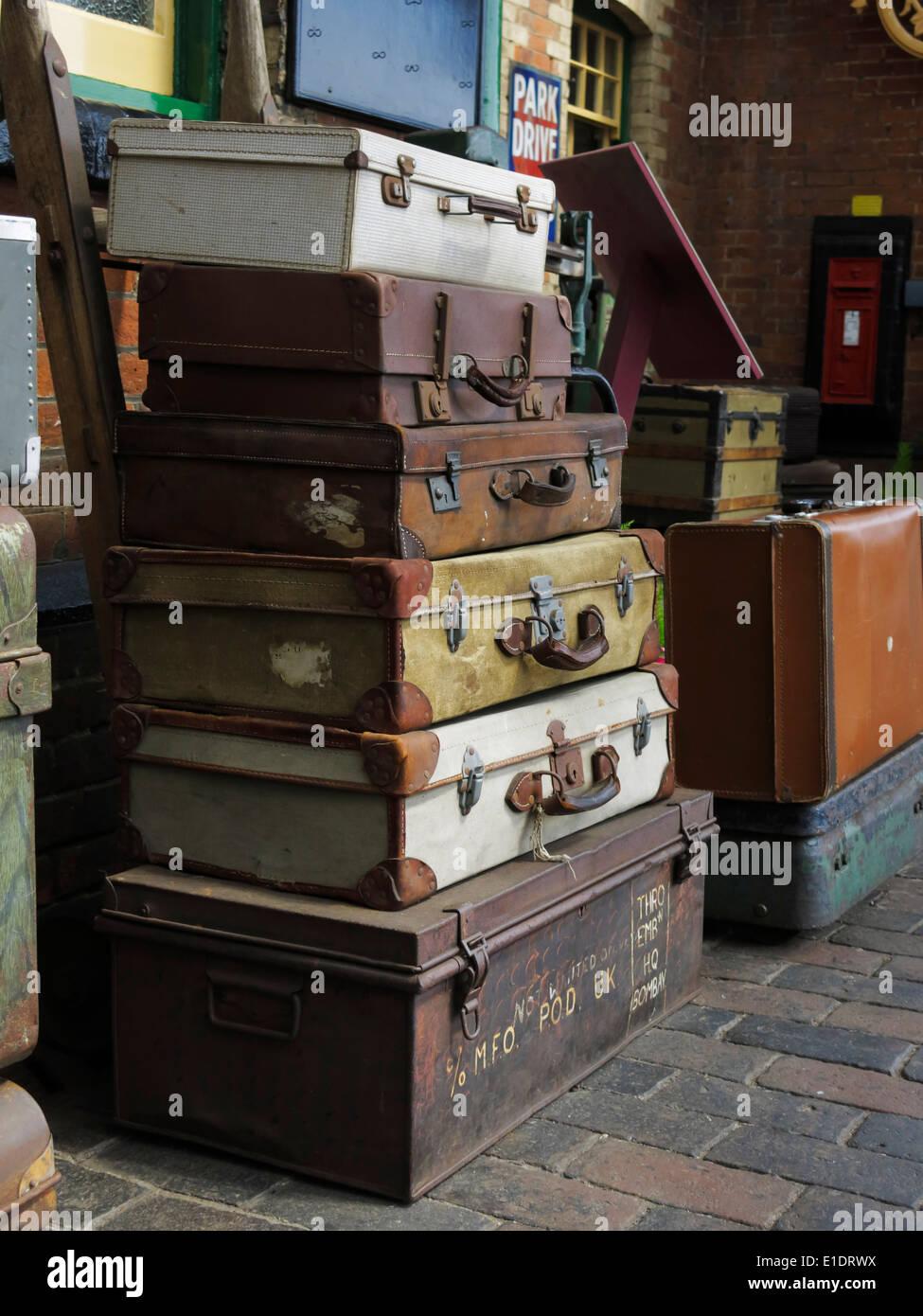 Luggage on yesteryear's, Sheringham railway station, North Norfolk, UK. - Stock Image