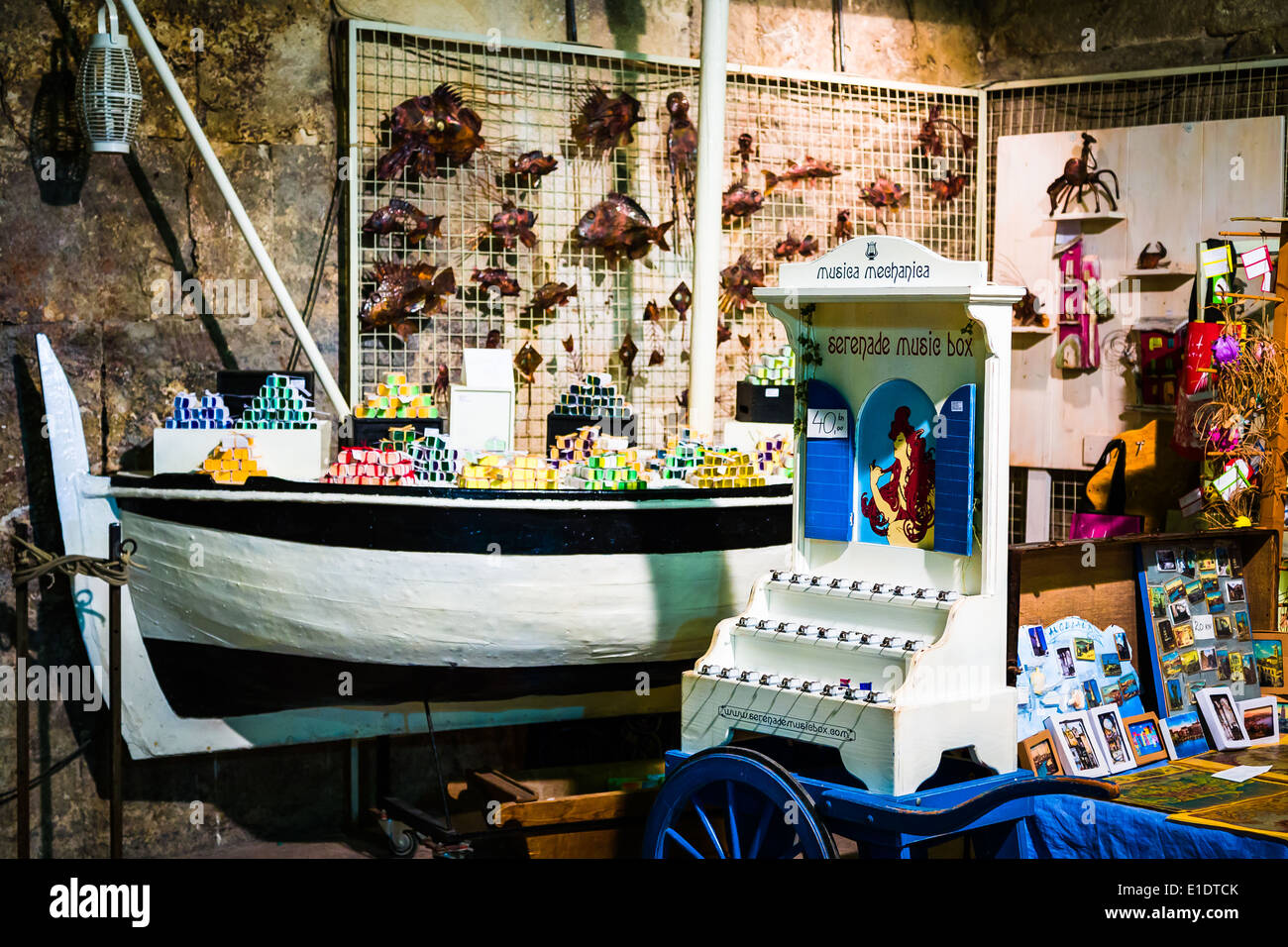 souvenirs and mementos are sold to tourists in diocletian's palace - Stock Image