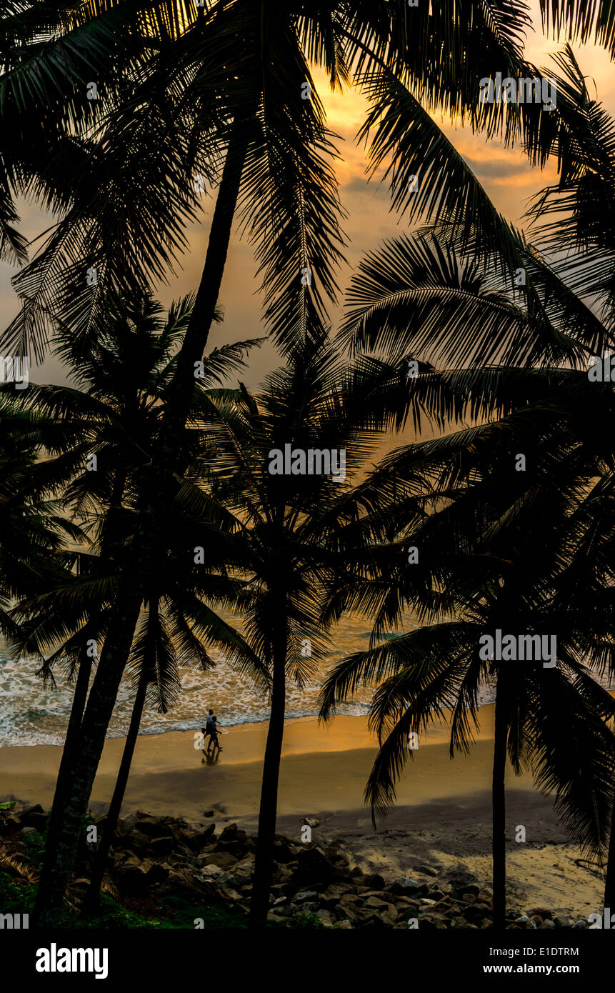 Incredible indian beaches, Black Beach, Varkala. Kerala, India. - Stock Image