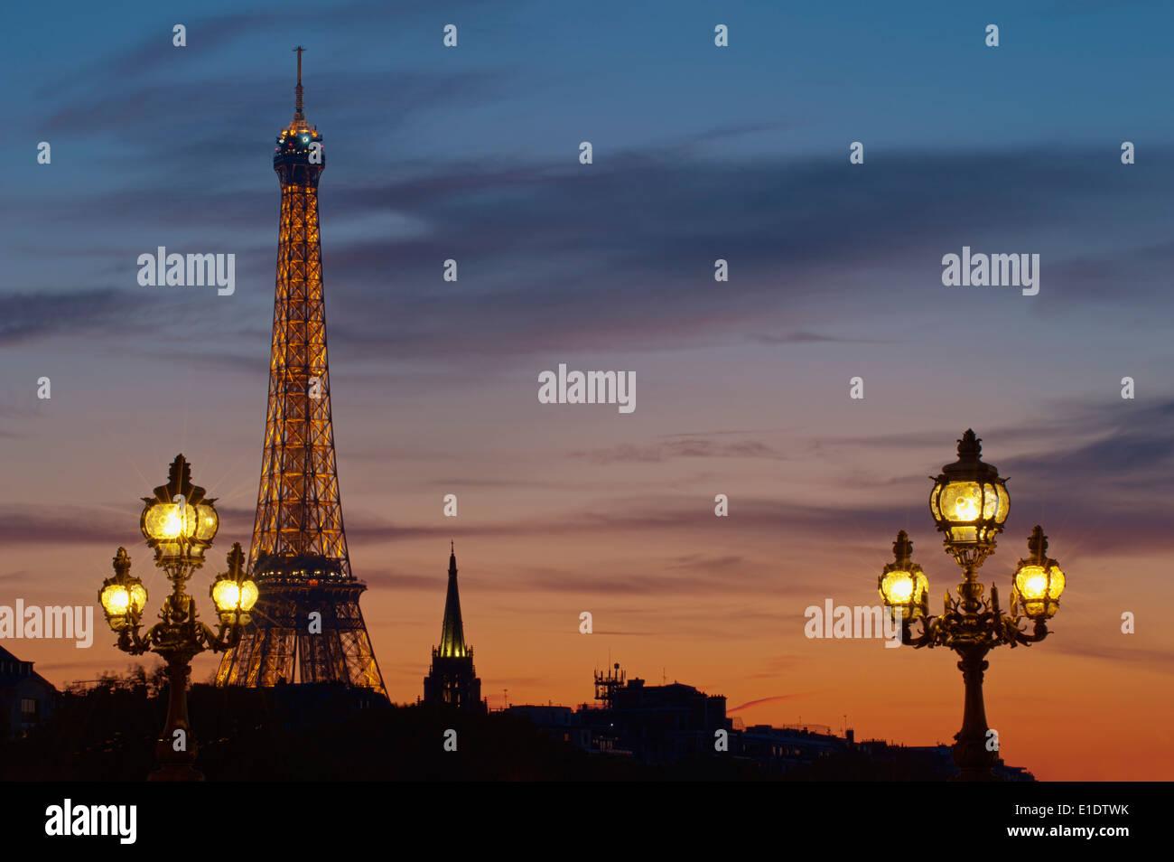 France, Paris, Eiffel Tower at night - Stock Image