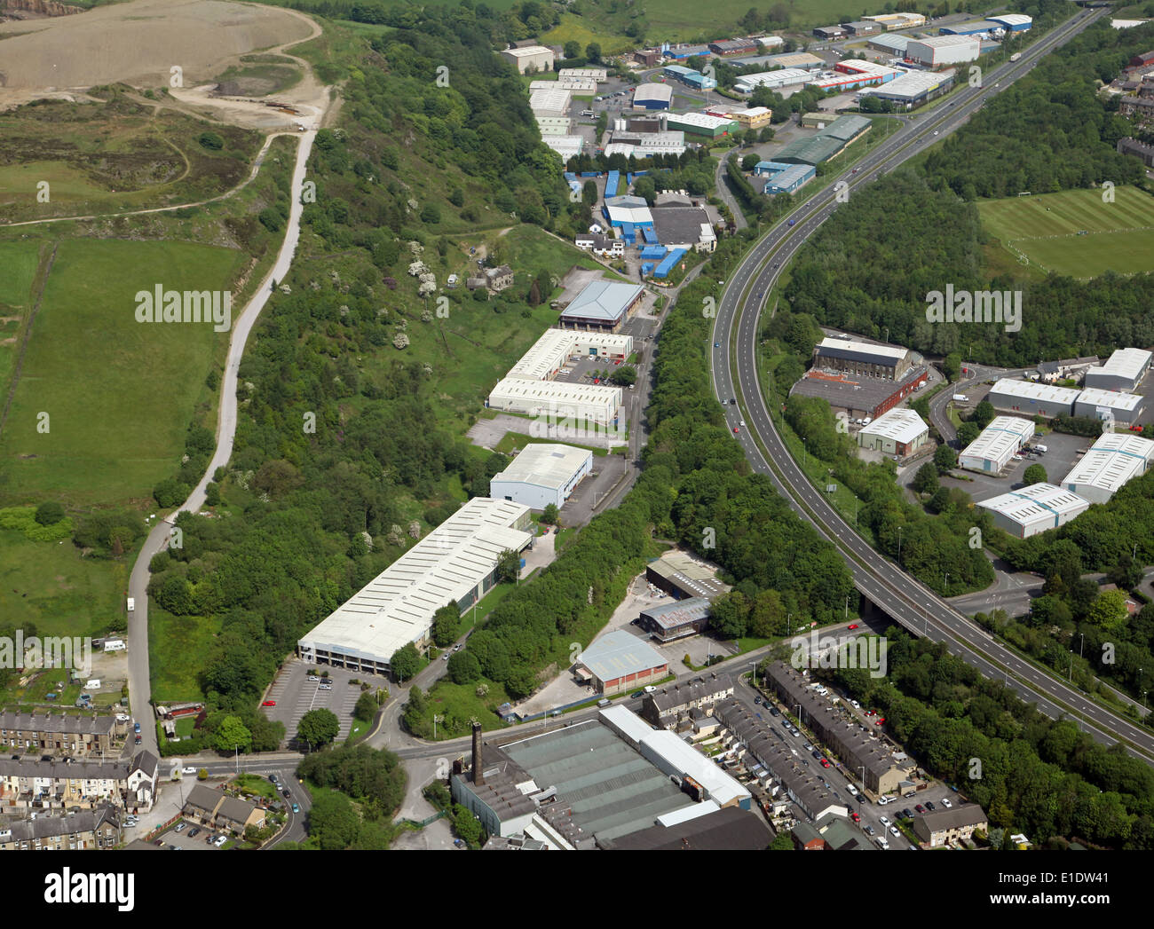 aerial view of an industrial estate on St Crispin Way, Haslingden, Lancashire - Stock Image