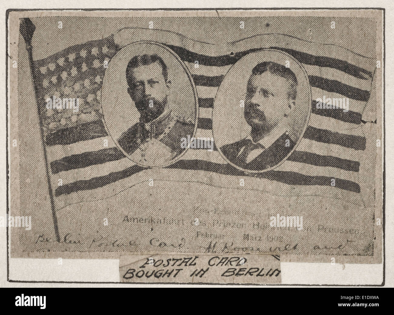 Postal card bought in Berlin.  Print (probably a news clipping) showing portraits of President Theodore Roosevelt and Prince Henry of Prussia on the American flag, circa 1905 - Stock Image