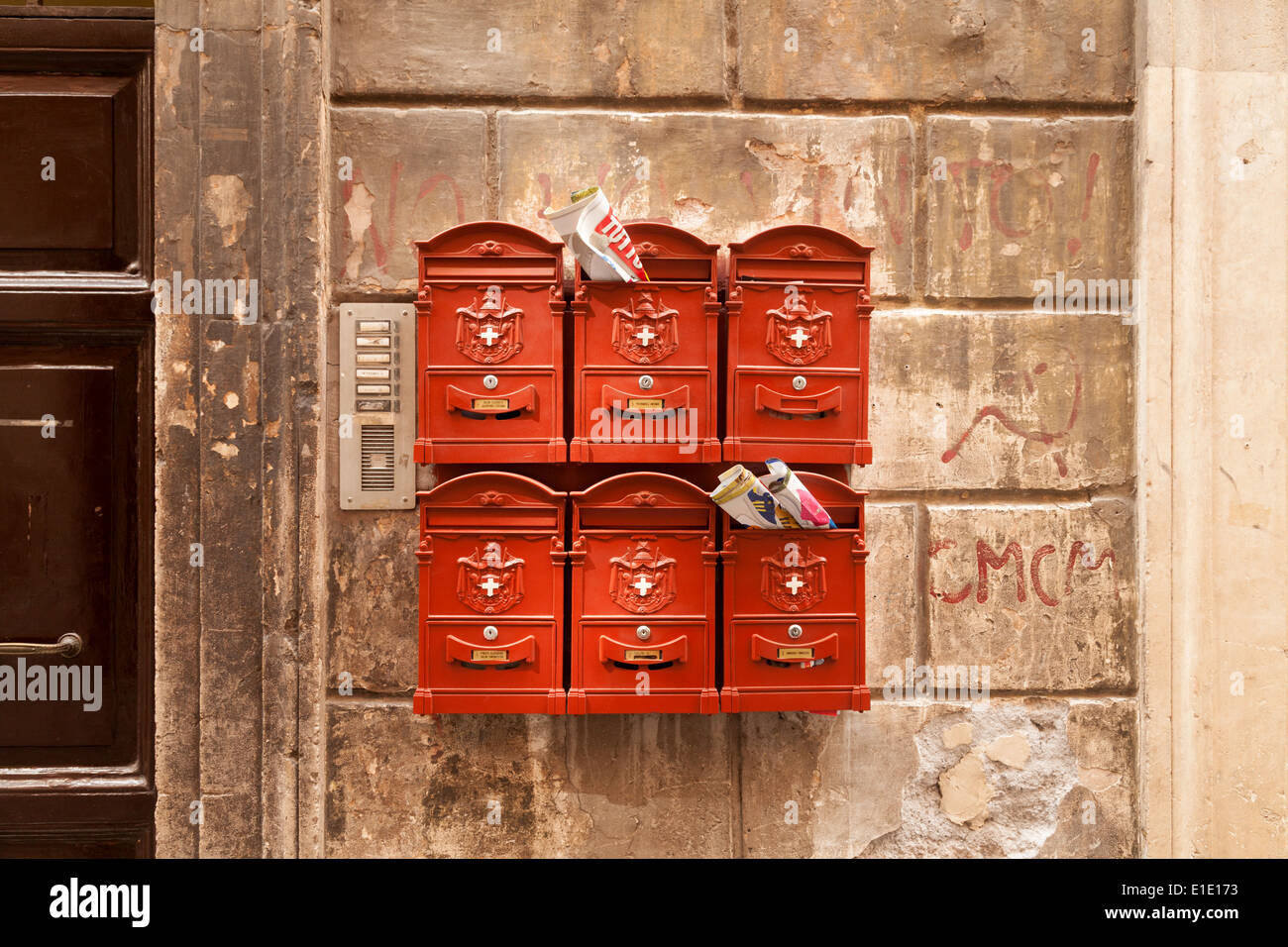 Rome - full mailboxes on a house wall, Rome Italy Europe - Stock Image