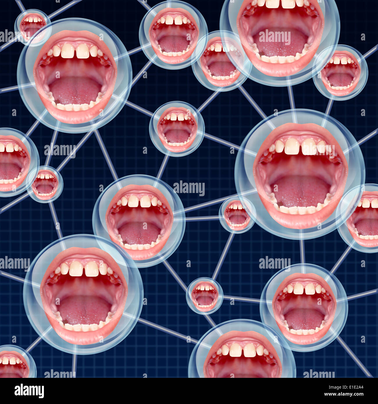 Social Connections communication concept as a group network on the internet with connected bubbles as human mouths inside as a symbol of talking and sharing information. - Stock Image