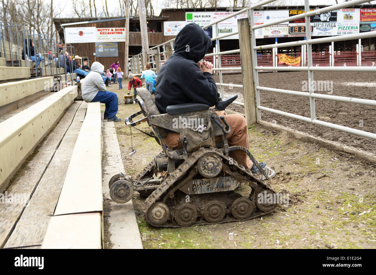 Man in all terrain mobility chair. - Stock Image