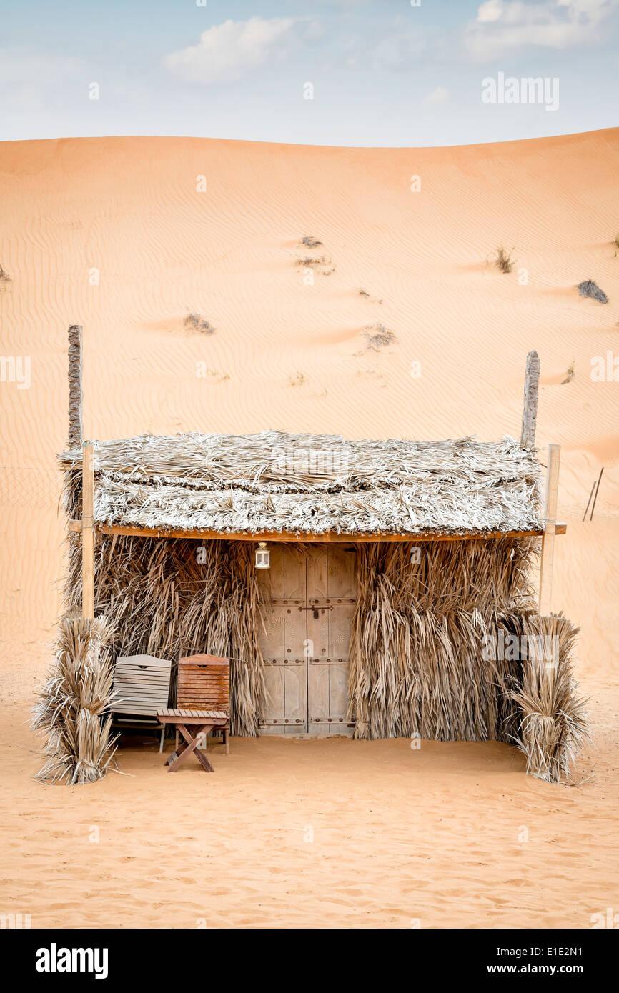 Reed cabin desert camp Wahiba in Oman - Stock Image