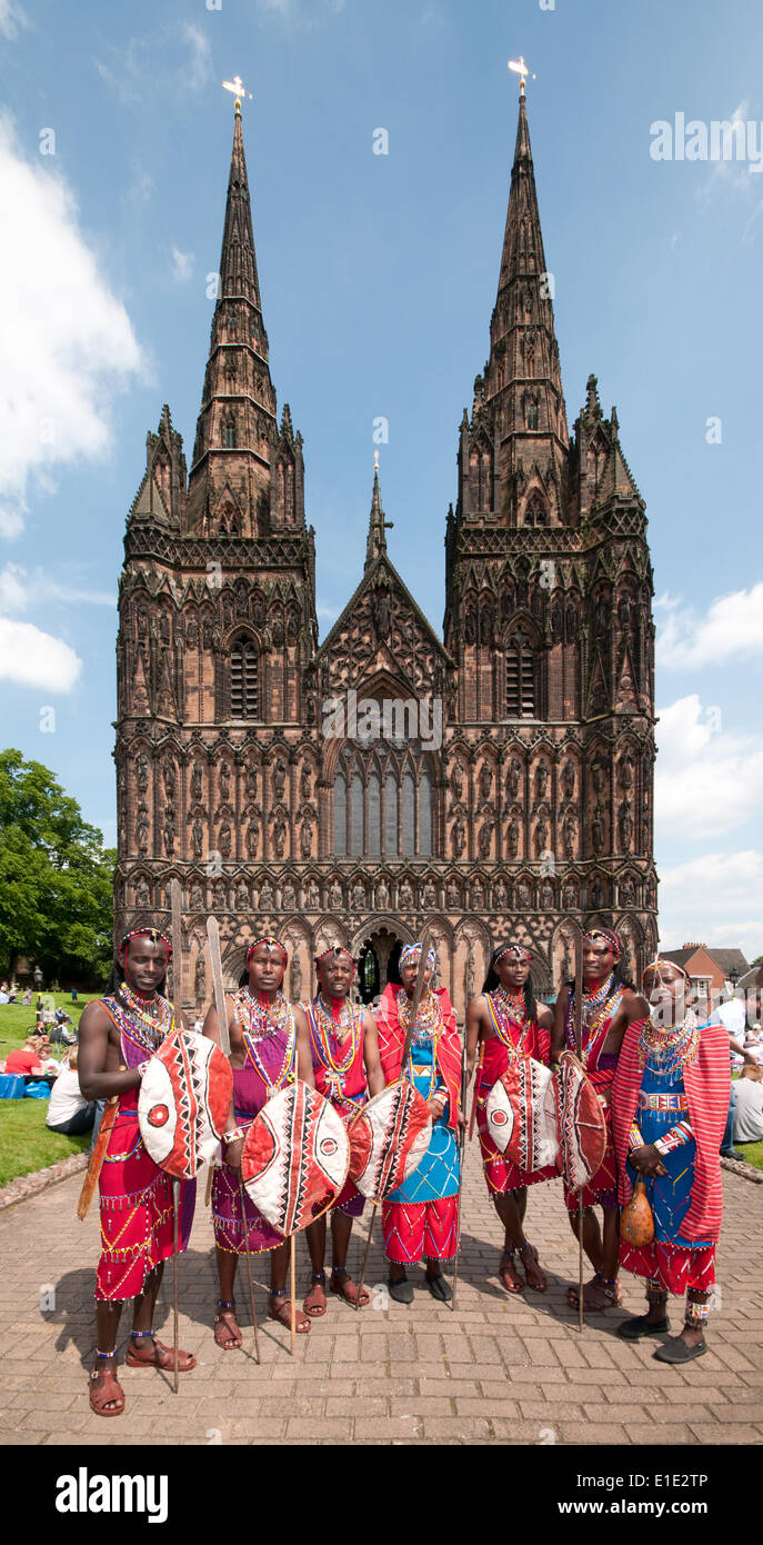 Lichfield, UK. 01st June, 2014. Group of Maasai dancers visiting Lichfield Cathedral Staffordshire England on Sunday 1st June 2014.  They visited Lichfield as part of a tour raising funds to benefit their villages back home in Kenya Credit:  David Keith Jones/Alamy Live News - Stock Image