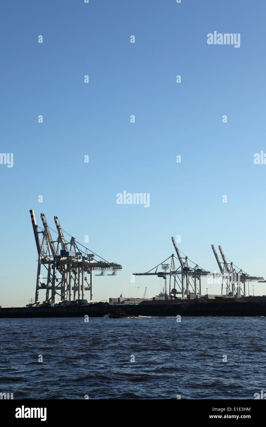 Cranes at the Tollerort container terminal in Hamburg, Germany. Stock Photo