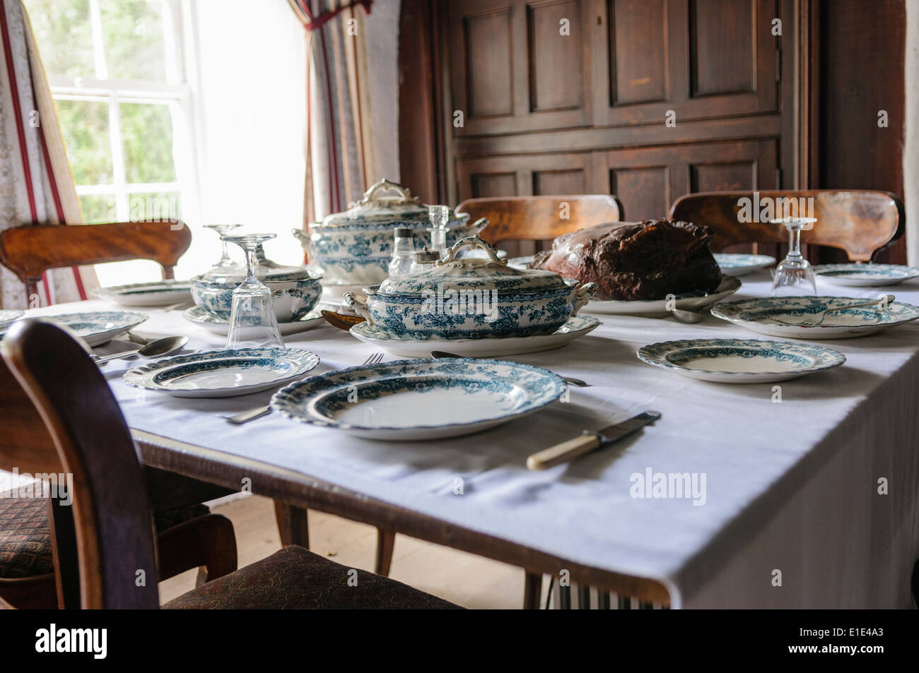 Traditional Table Setting In The Dining House Of An Old Farmhouse   Stock  Image
