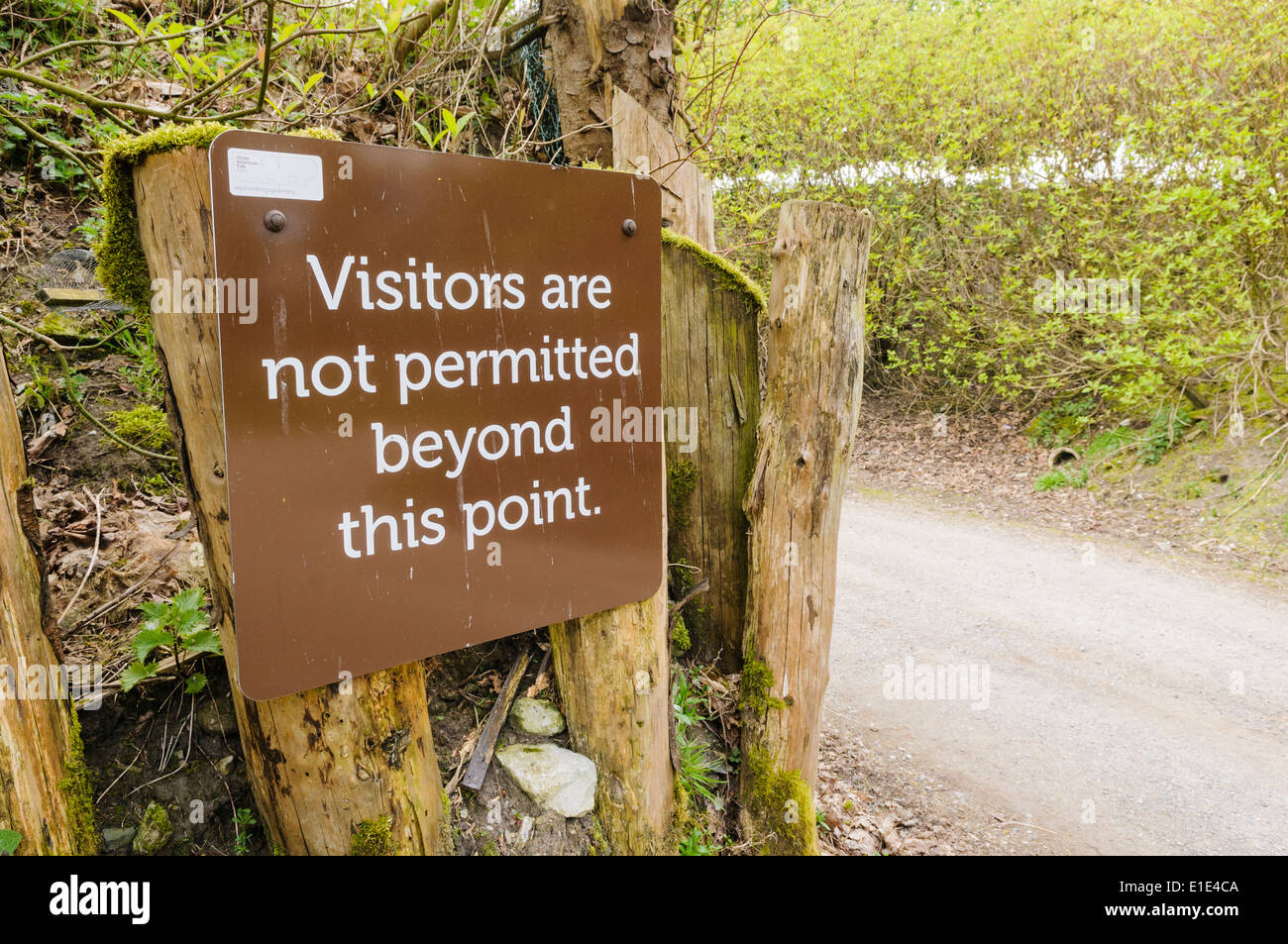 Sign advising that visitors are not permitted beyond this point - Stock Image