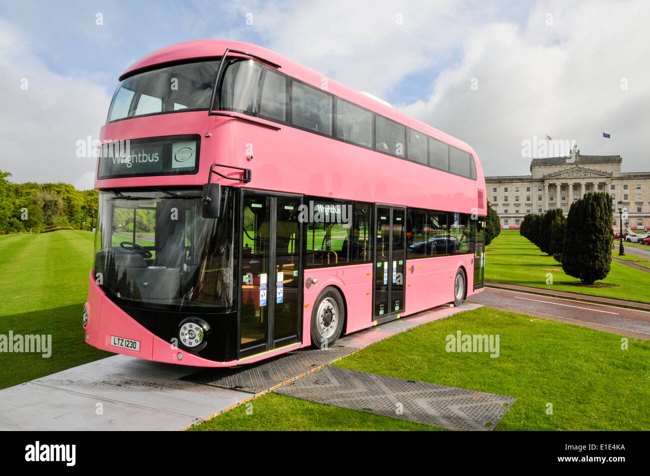Wrightbus outside Parliament buildings, Stormont, Belfast.  Wrightbus are one of the worlds largest bus manufacturers. - Stock Image