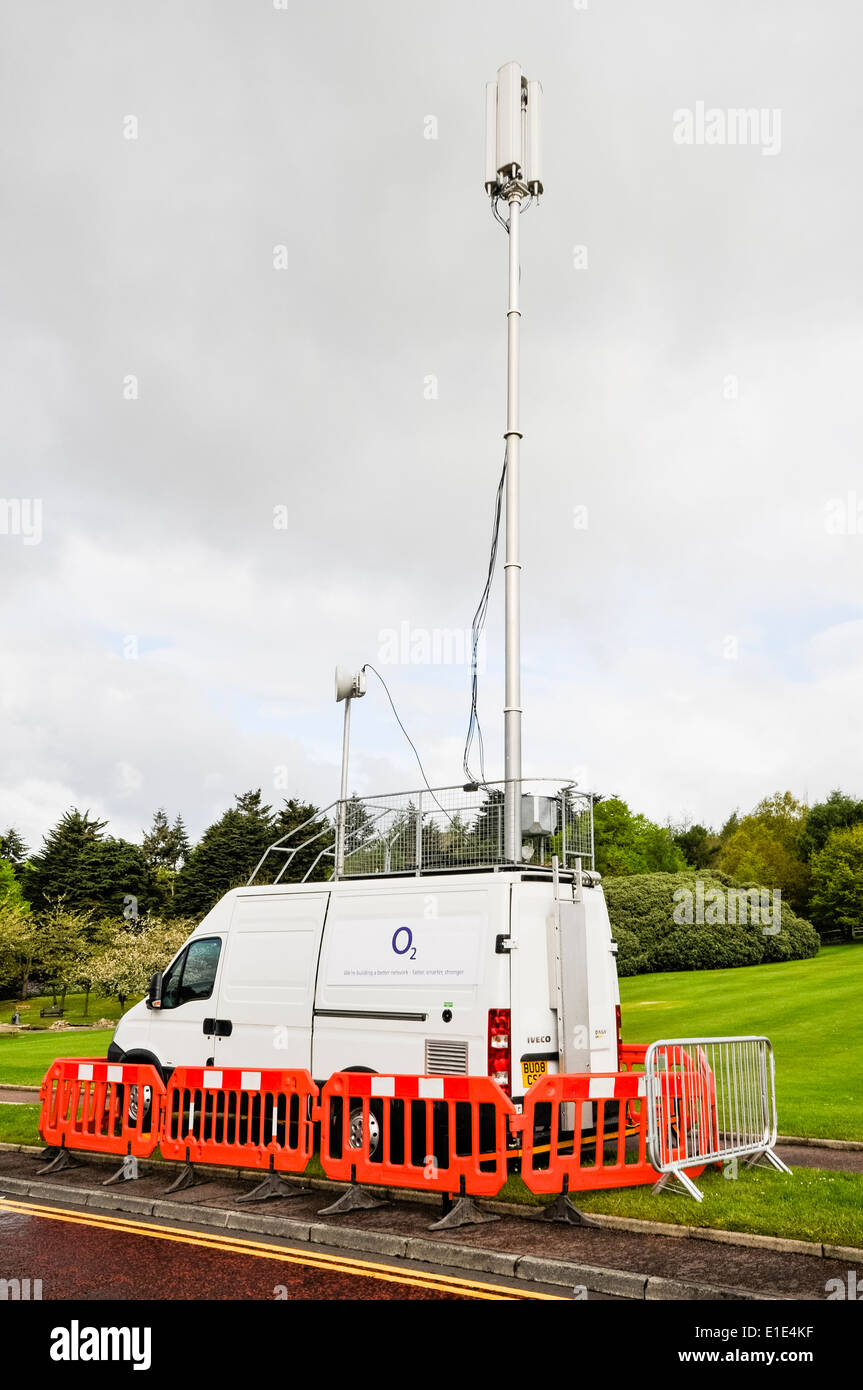 A mobile GSM mobile phone unit, deployed where emergency cellphone coverage is required. - Stock Image