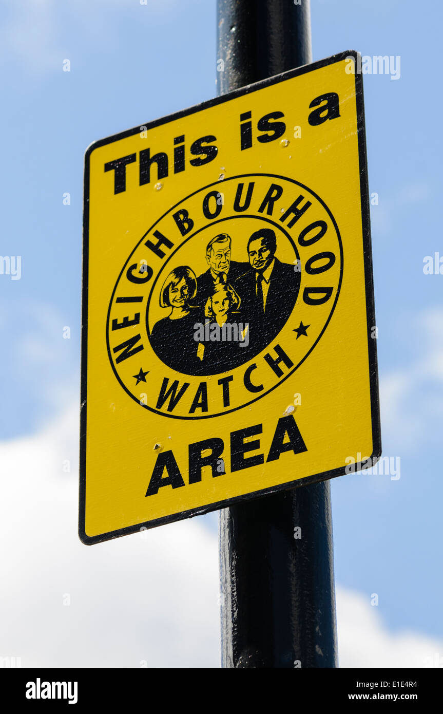 Sign in a Neighbourhood Watch area - Stock Image