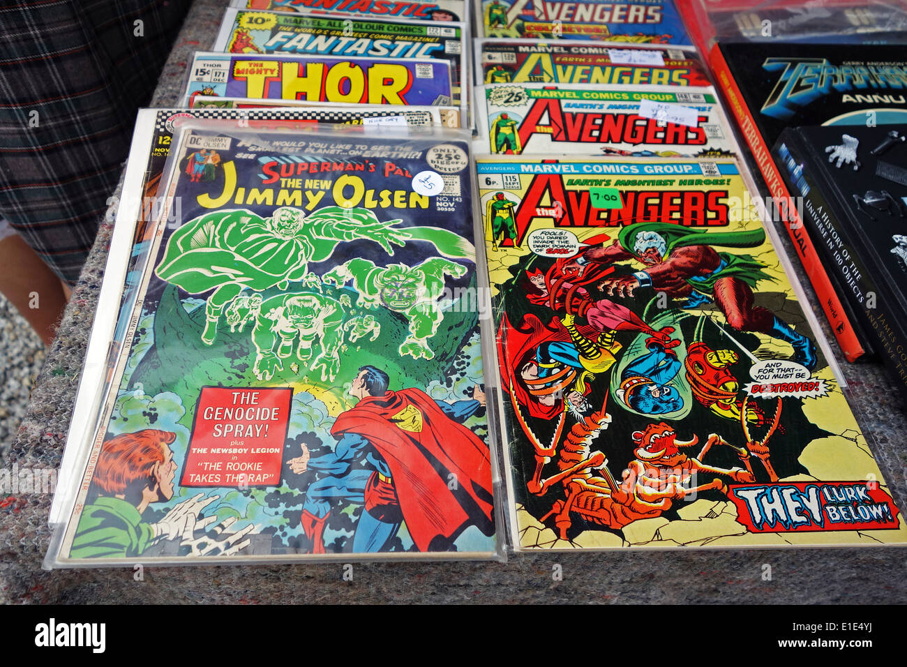 marvel comics for sale on a market - Stock Image