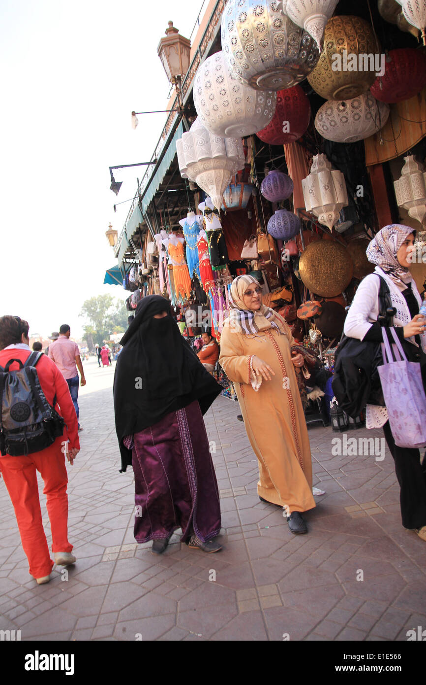 Old women wearing traditional dress in Marrakesh Morocco - Stock Image