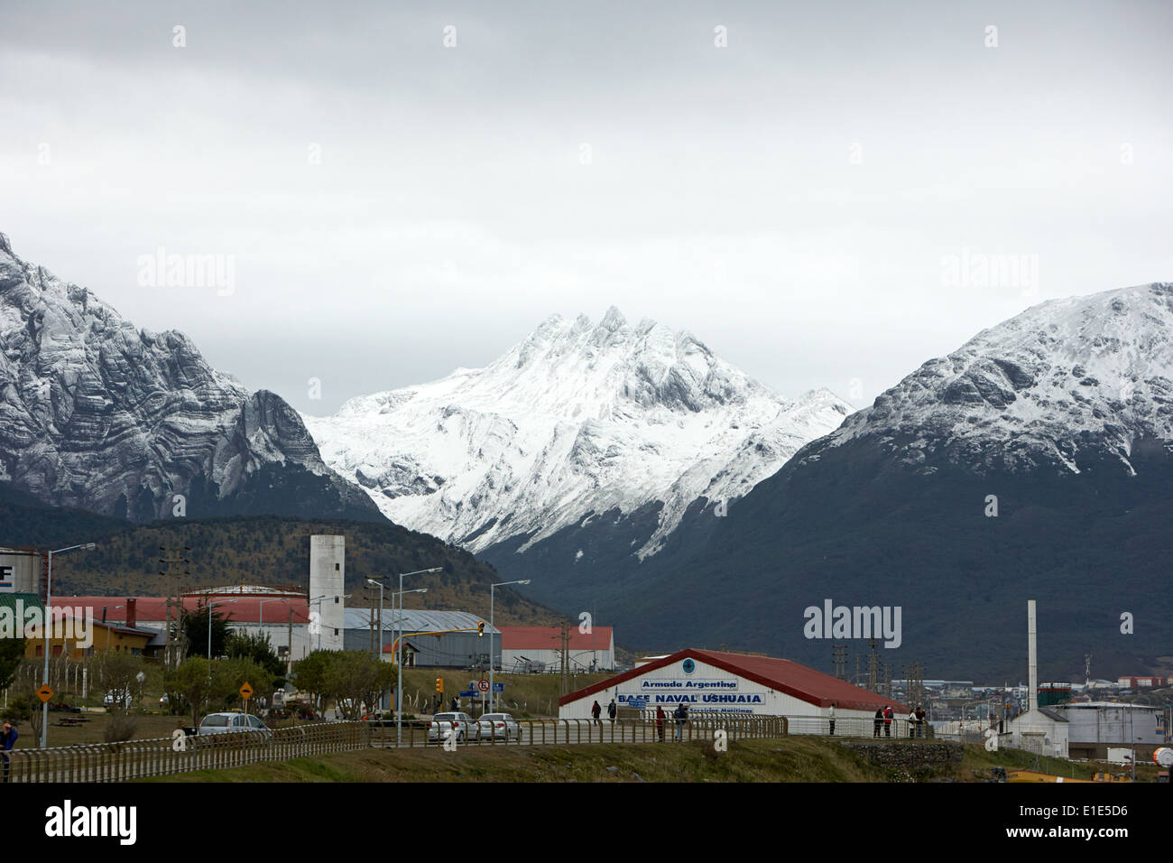 Ushuaia naval base and snow covered patagonian mountains tierra del fuego Argentina - Stock Image