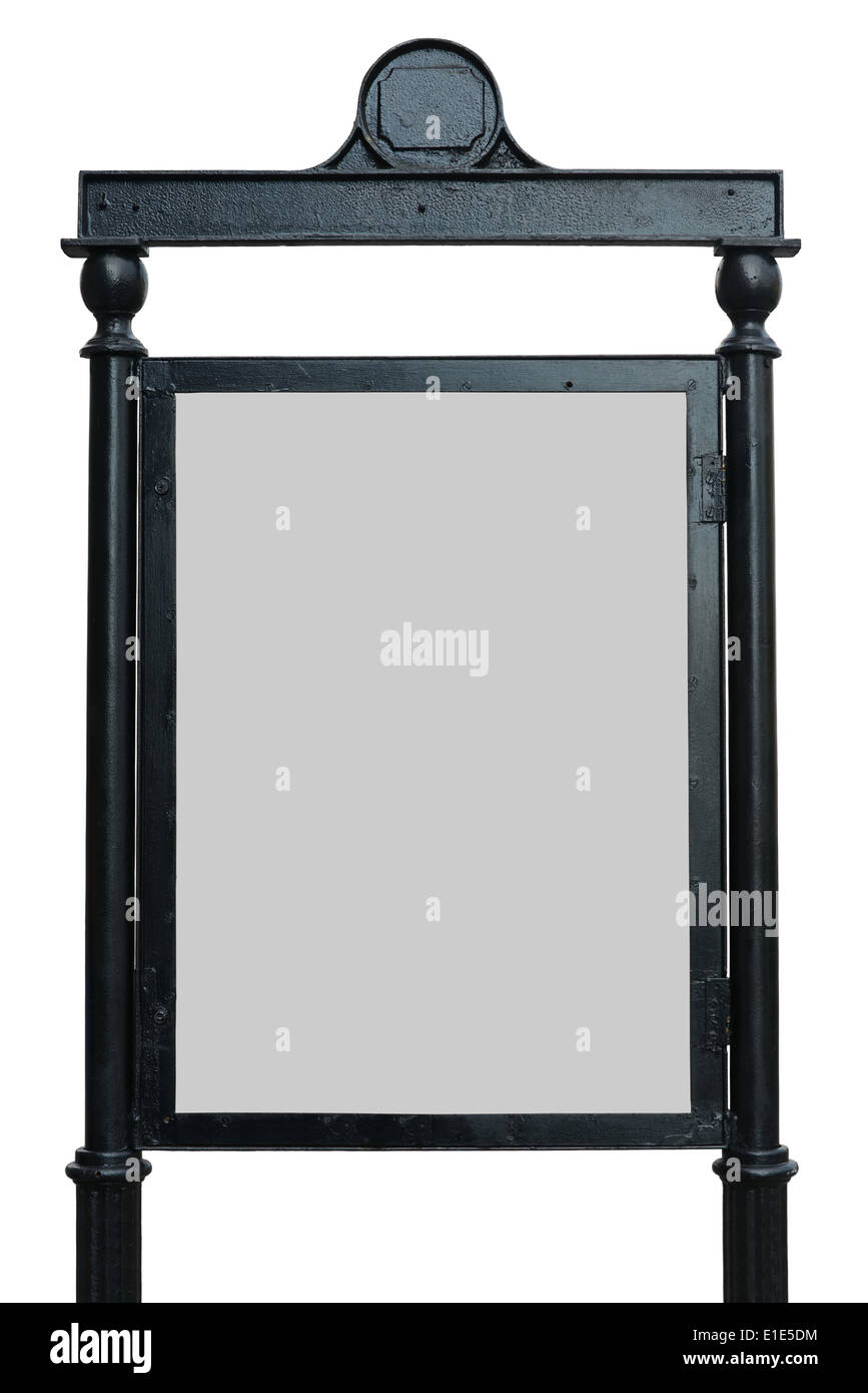 Empty street information board (20% gray) from Dublin, isolated on white. - Stock Image