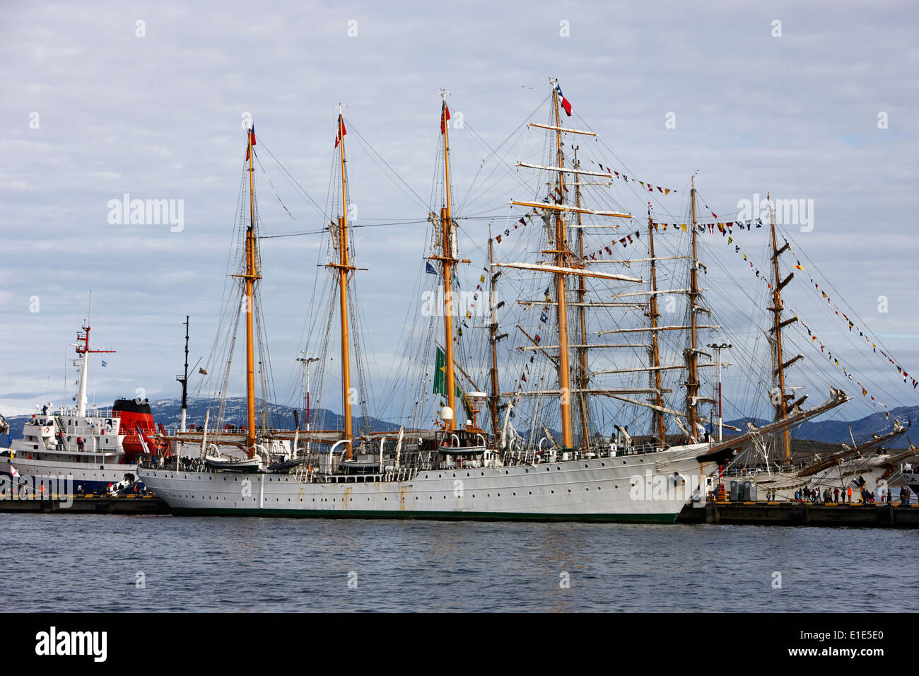chilean navy training sail ship esmeralda moored in Ushuaia Argentina - Stock Image