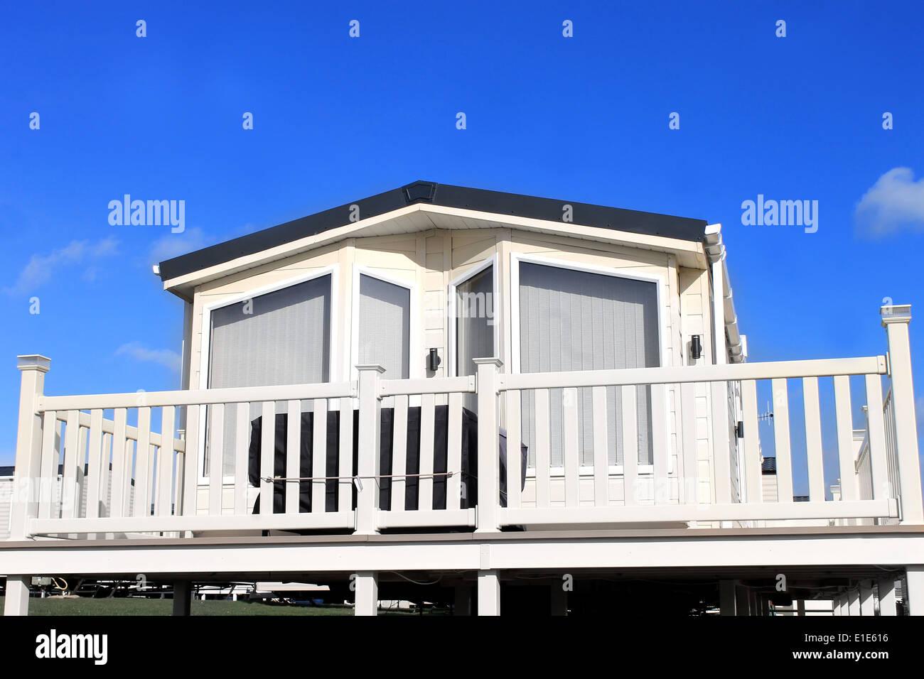 Exterior of caravan on a trailer park in Filey, England. Stock Photo