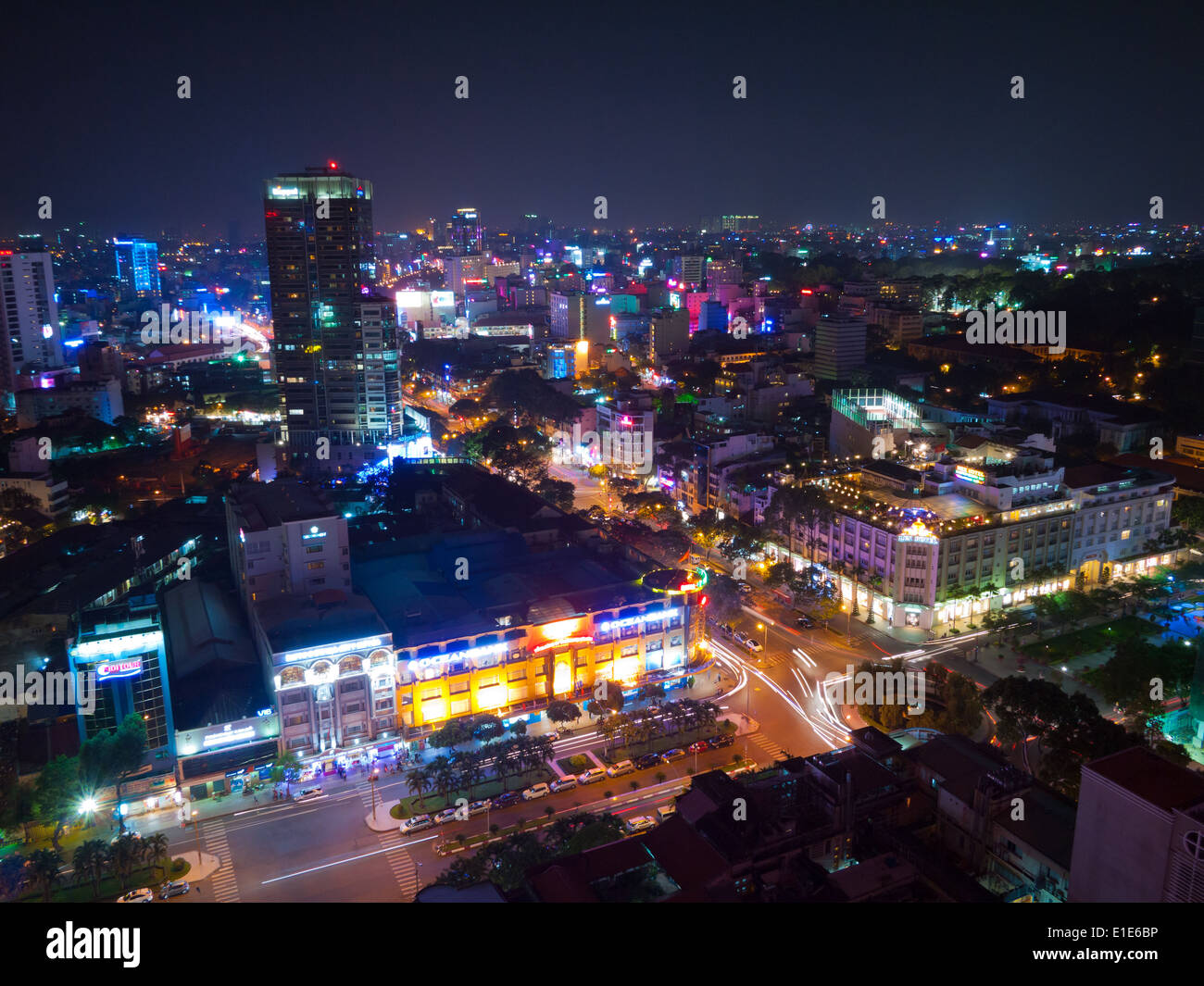 an aerial night view of district 1 in ho chi minh city. Black Bedroom Furniture Sets. Home Design Ideas