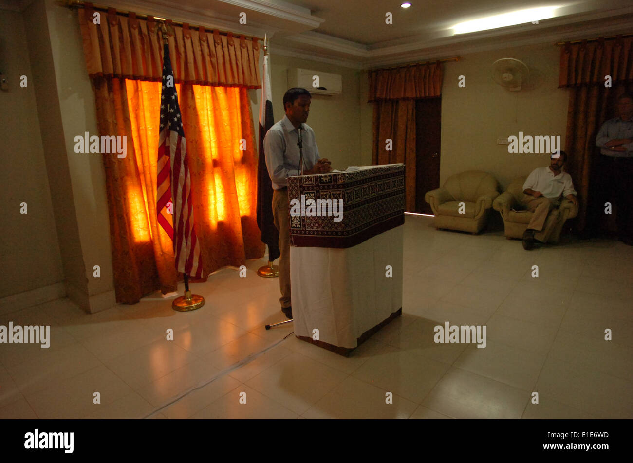 Rajiv Shah, an administrator with the United States Agency for International Development, holds a news conference in Pakistan A - Stock Image
