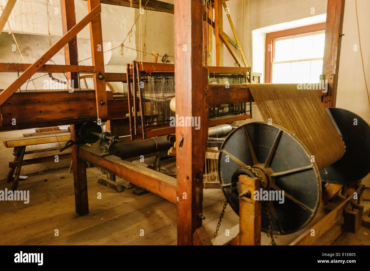 A traditional weaving loom from the 19th Century. - Stock Image