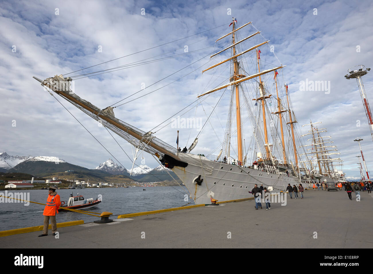 chilean navy esmeralda latin american navy sail training ships moored in Ushuaia Argentina part of velas latinoamerican 2014 - Stock Image