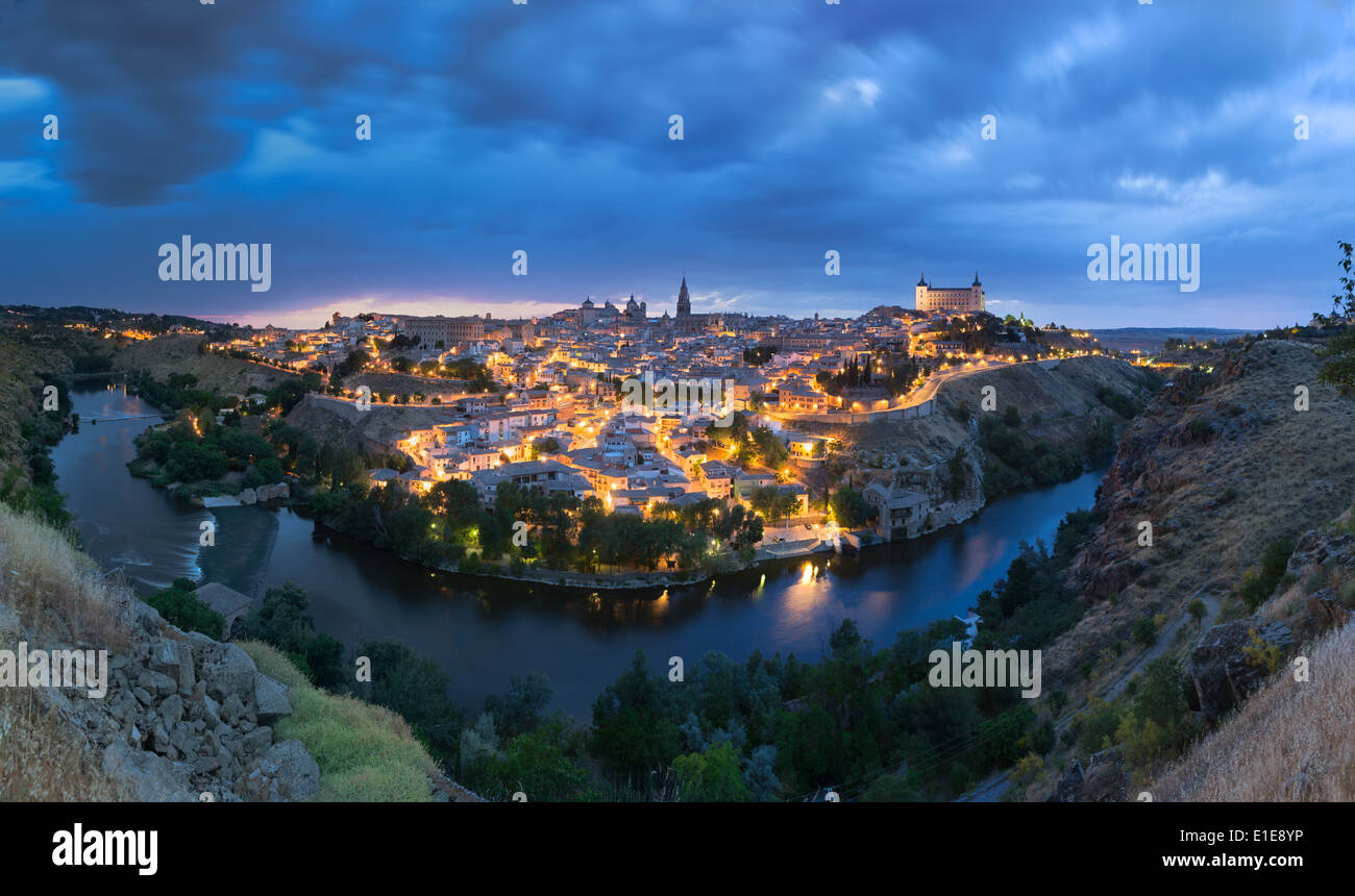 Panoramic view of Toledo after sunset, Spain Stock Photo