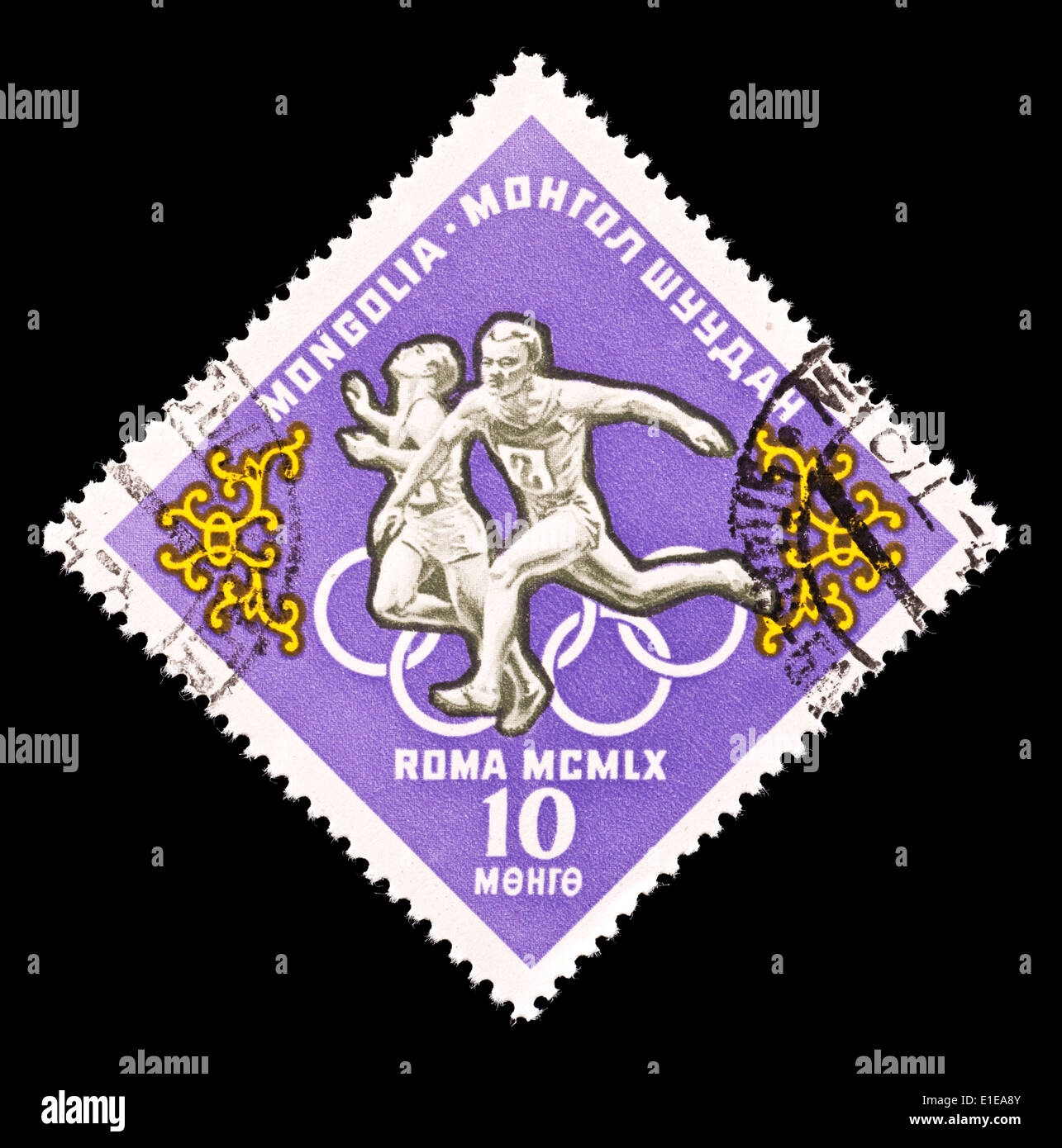 Postage stamp from Mongolia depicting two sprinters, issued for the 1960 Rome Summer Olympic games. - Stock Image