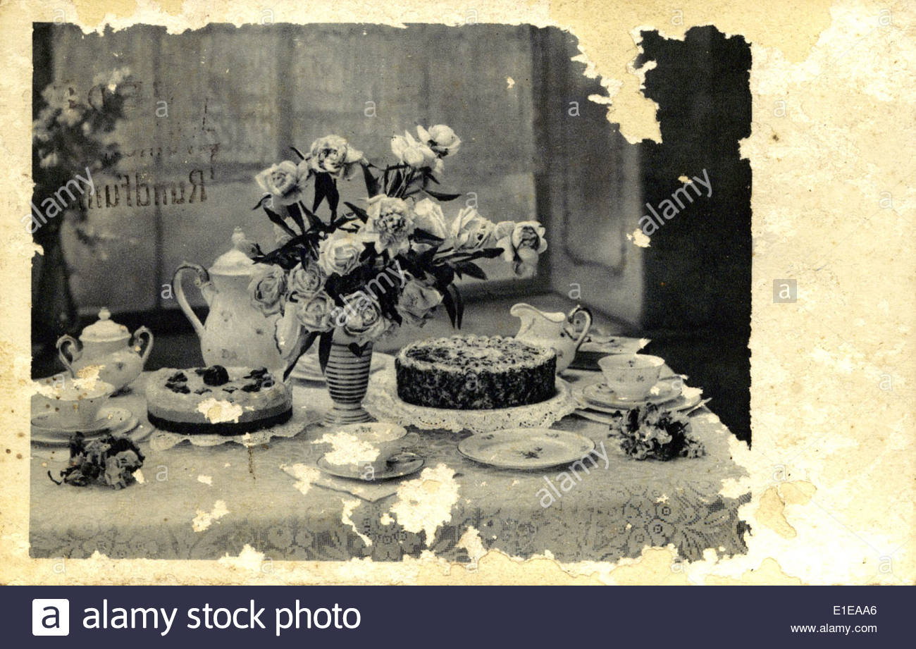 Vintage postcard with still life - Stock Image