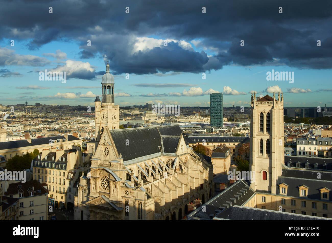 France, Paris, Quartier Latin, Clovis Tower of Henri 4 school and Saint Etienne du Mont Church - Stock Image