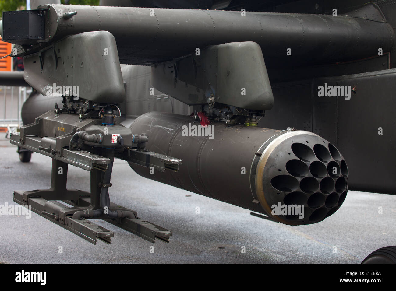 Close up detail of an Apache Helicopter rocket launcher - Stock Image