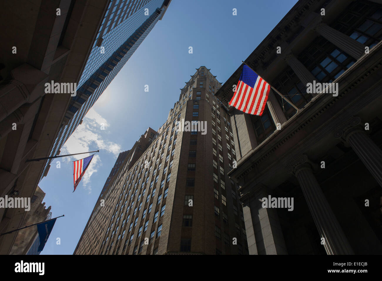 Distorted fish-eye lens view of banking and financial institutions on Wall Street, Lower Manhattan, New York City. - Stock Image
