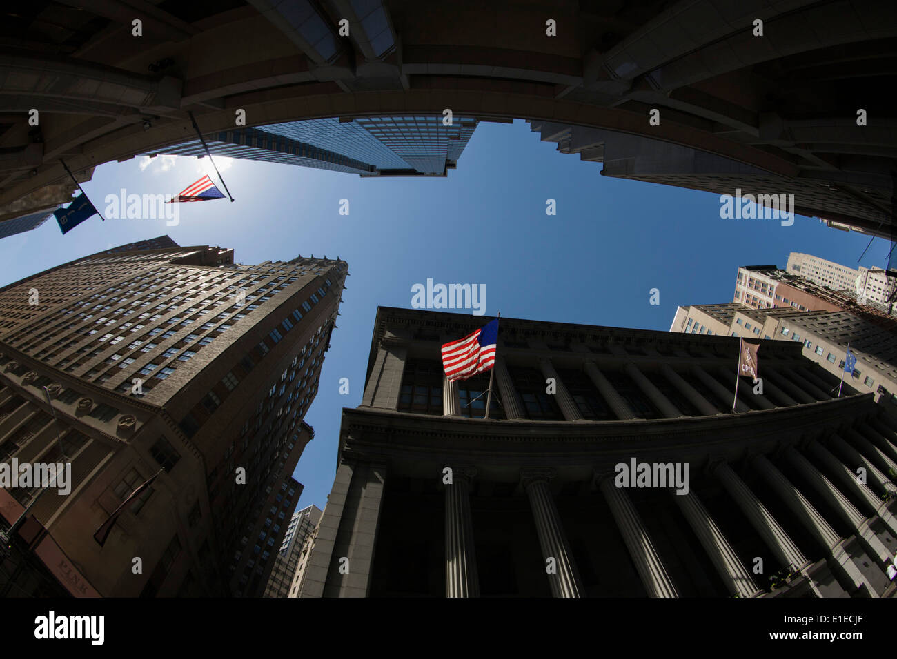 Tall view of banking and financial institutions on Wall Street, Lower Manhattan, New York City. - Stock Image