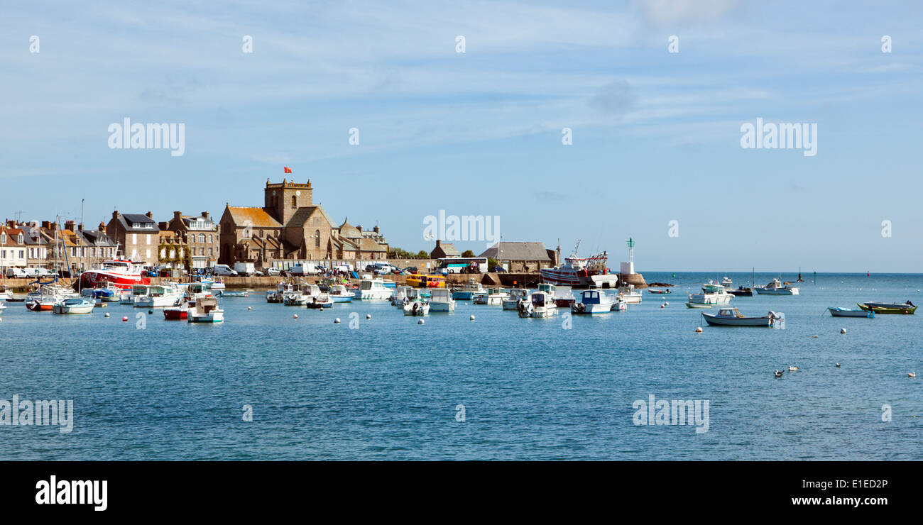 Harbor and medieval church of Barfleur, Normandy, France - Stock Image