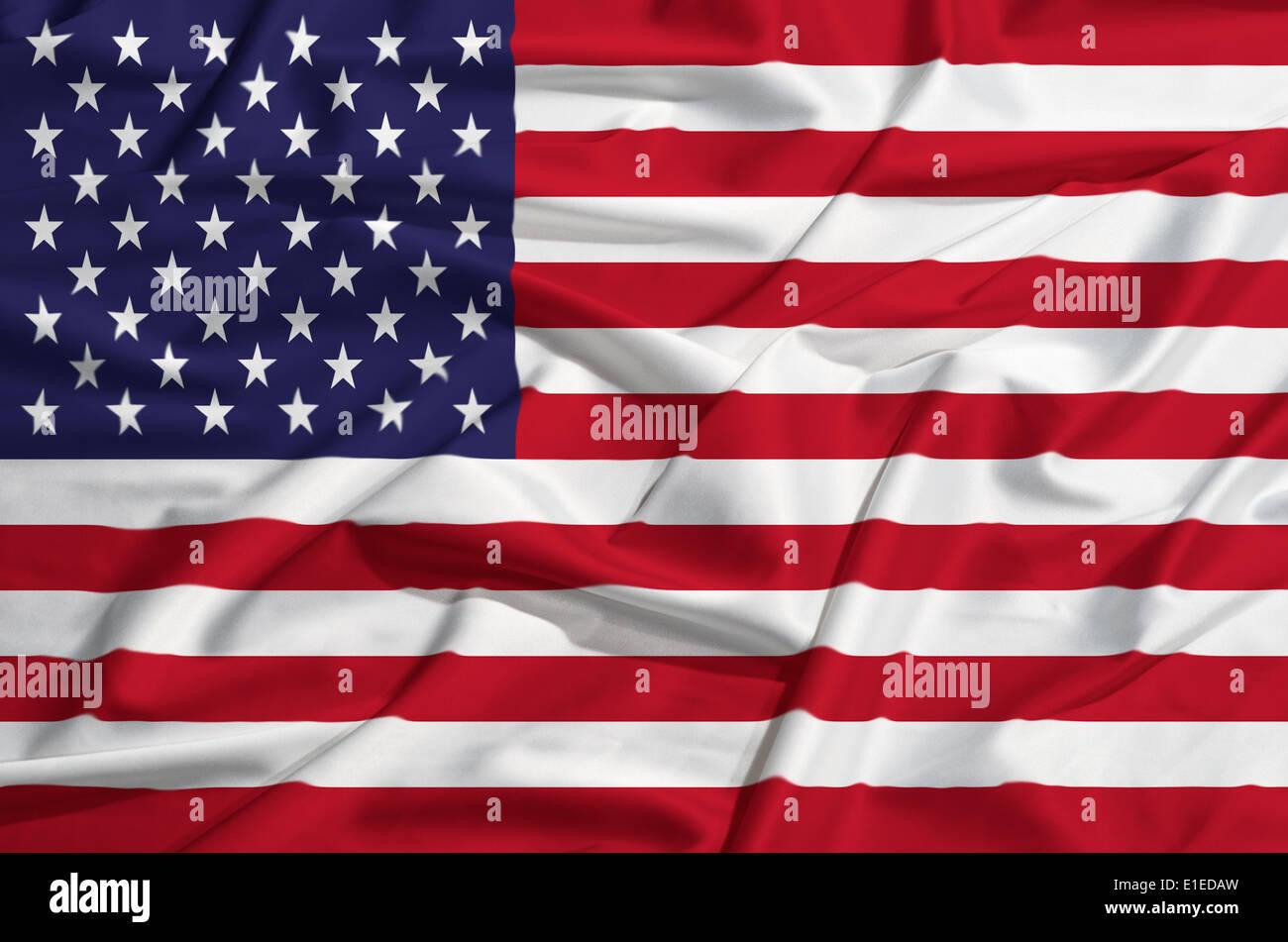 United States flag on a silk drape waving - Stock Image