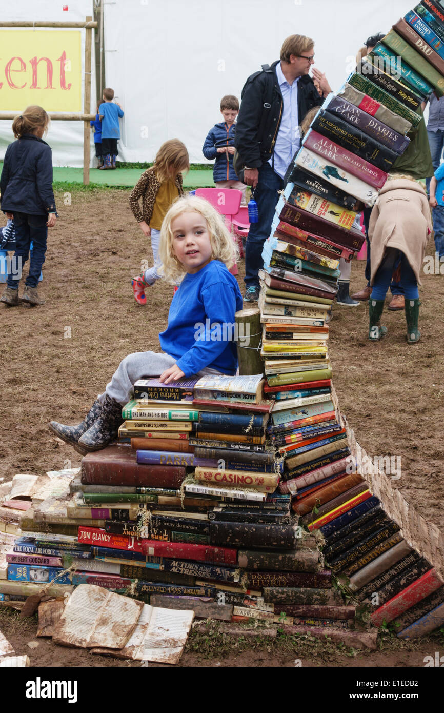 The muddy children's play area at the 2014 Hay Festival of Literature, Hay-on-Wye, Powys, UK - Stock Image