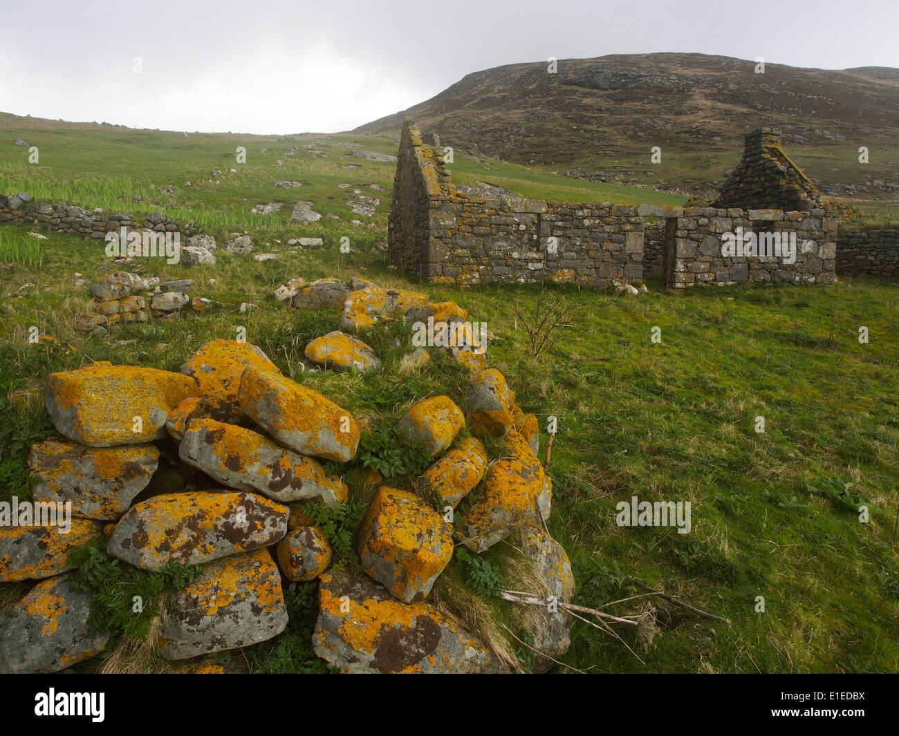 ruined buildings in deserted village, Mingulay, Scotland Stock Photo