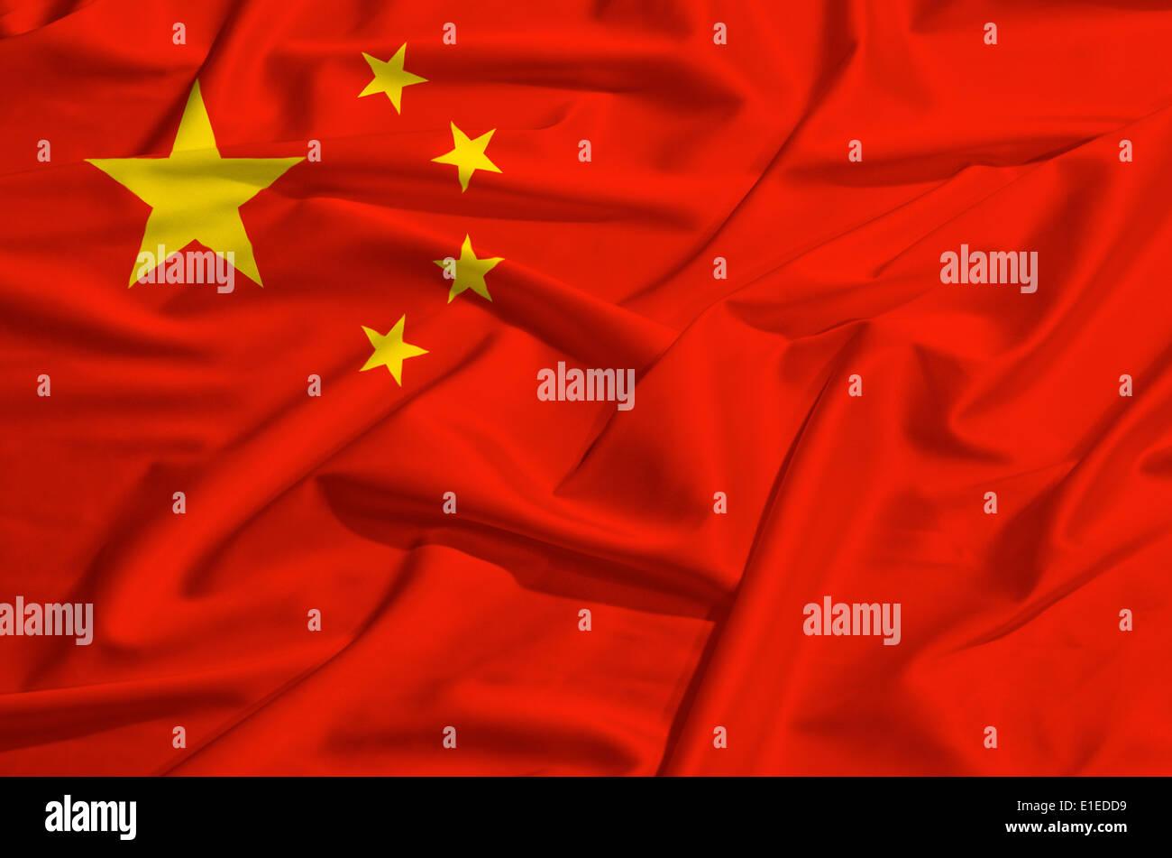 china flag on a silk drape waving - Stock Image