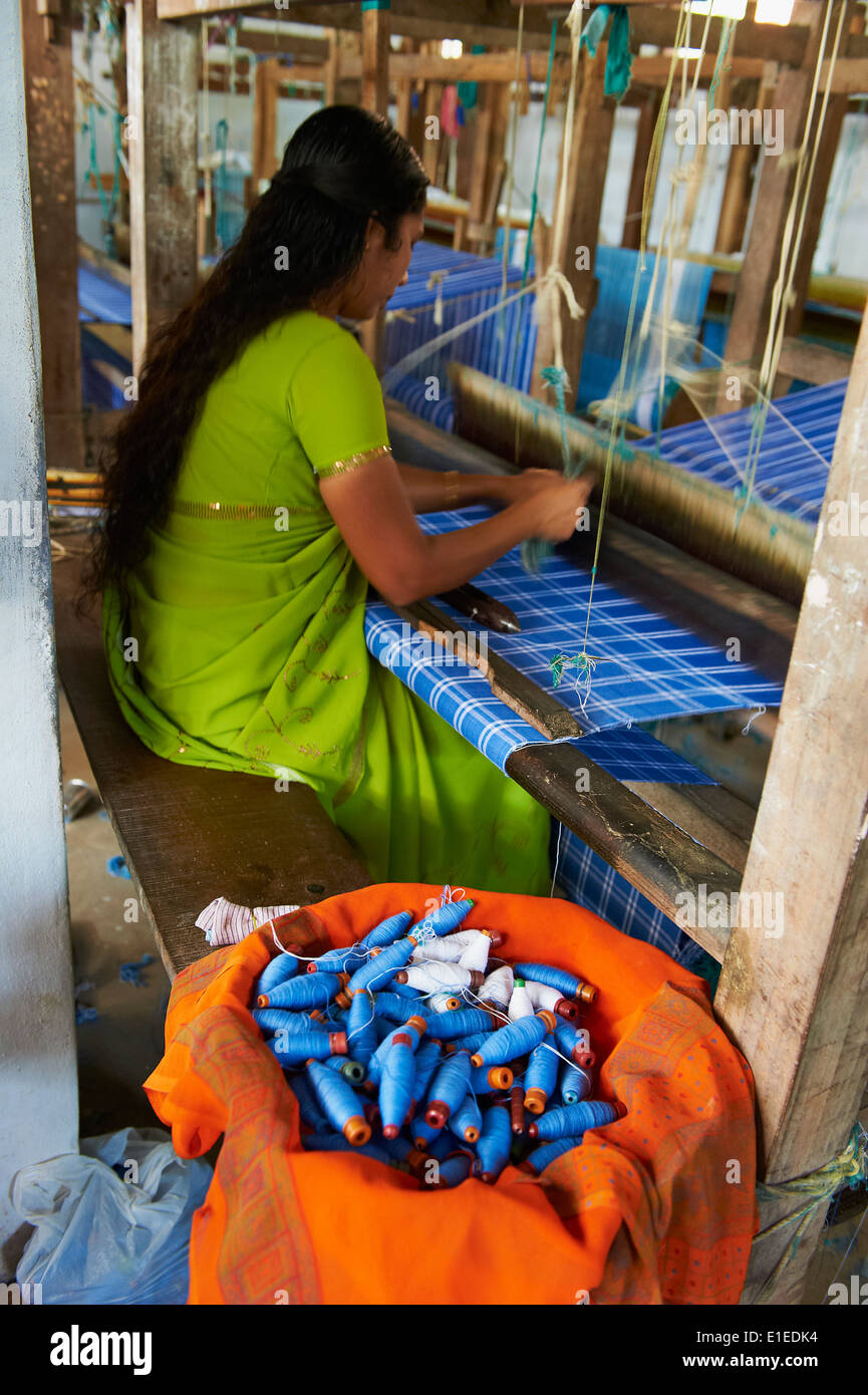India, Kerala state, Trivandrum or Thiruvananthapuram, Kerala capital, weaving factory - Stock Image