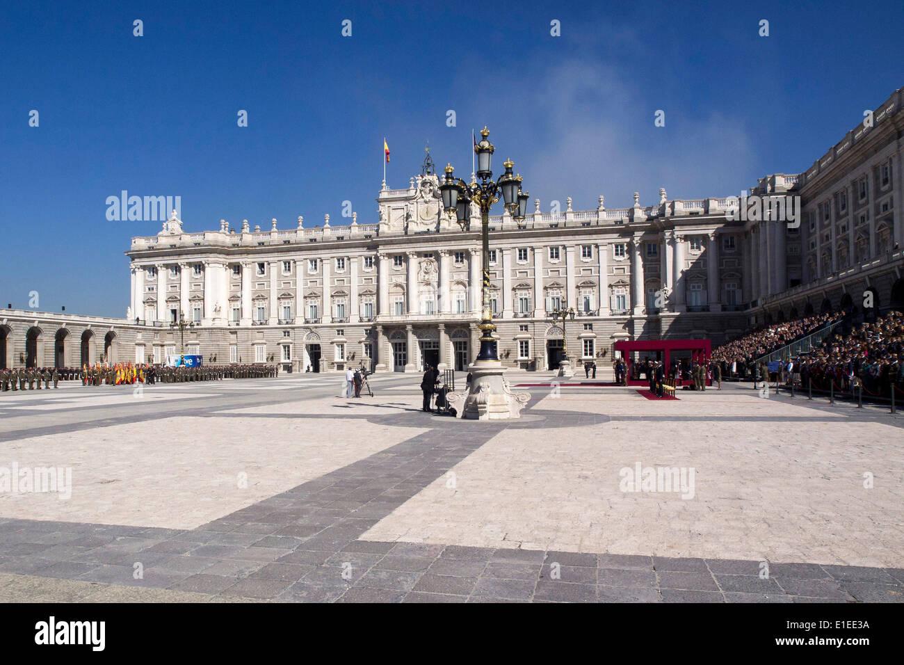 01.10.2012. Royal Palace. Madrid.  Spain The Spanish Royal Family, King Juan Carlos and Queen Sofia,  Prince Felipe Stock Photo