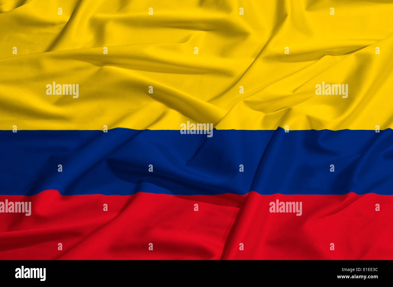 Colombia flag on a silk drape waving - Stock Image