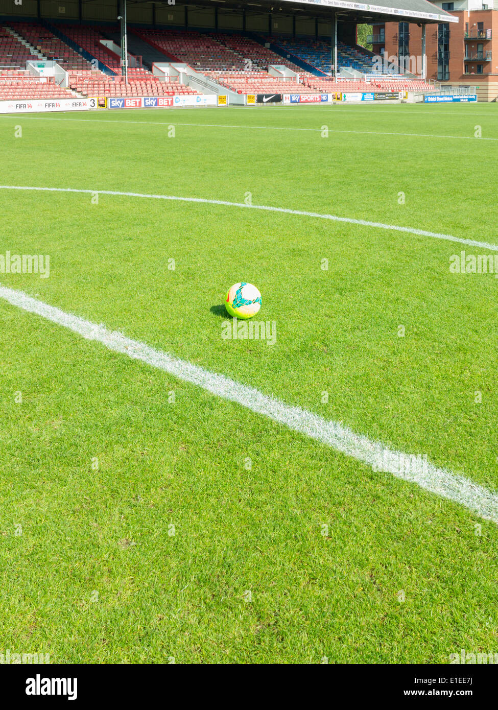 Football pitch with ball - Stock Image