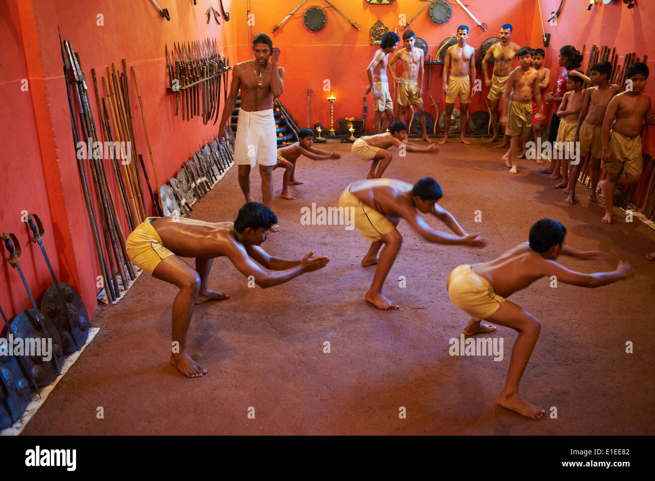 India, Kerala state, Kalarippaya school (Kalari) - Stock Image