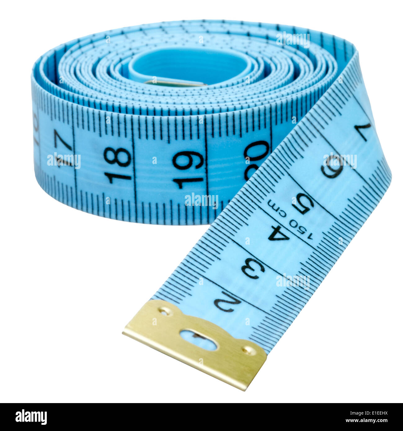 Tailors tape measure cut out against a white background. Blue measuring tape. Stock Photo