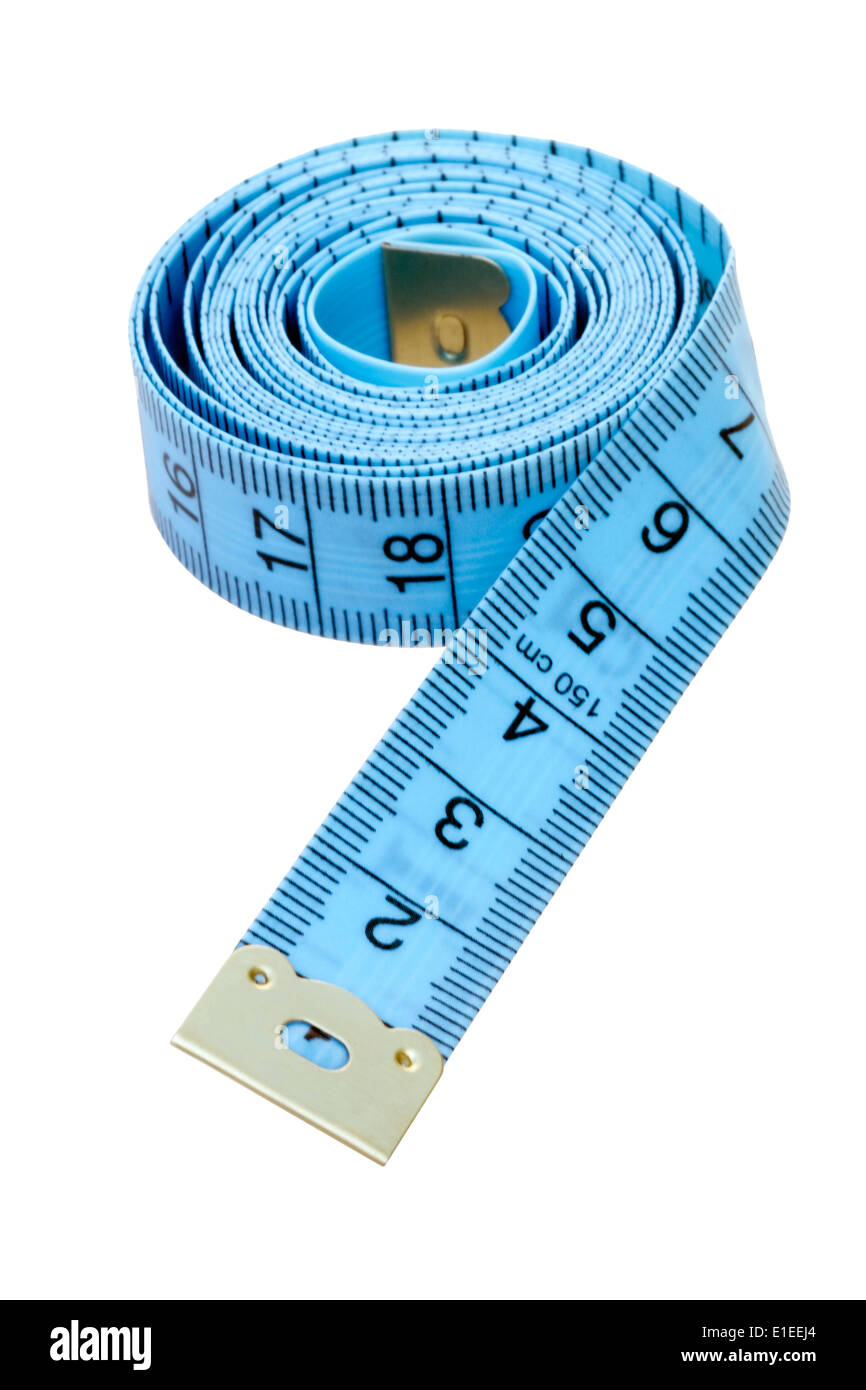 Tailors tape measure cut out against a white background. Blue measuring tape. - Stock Image