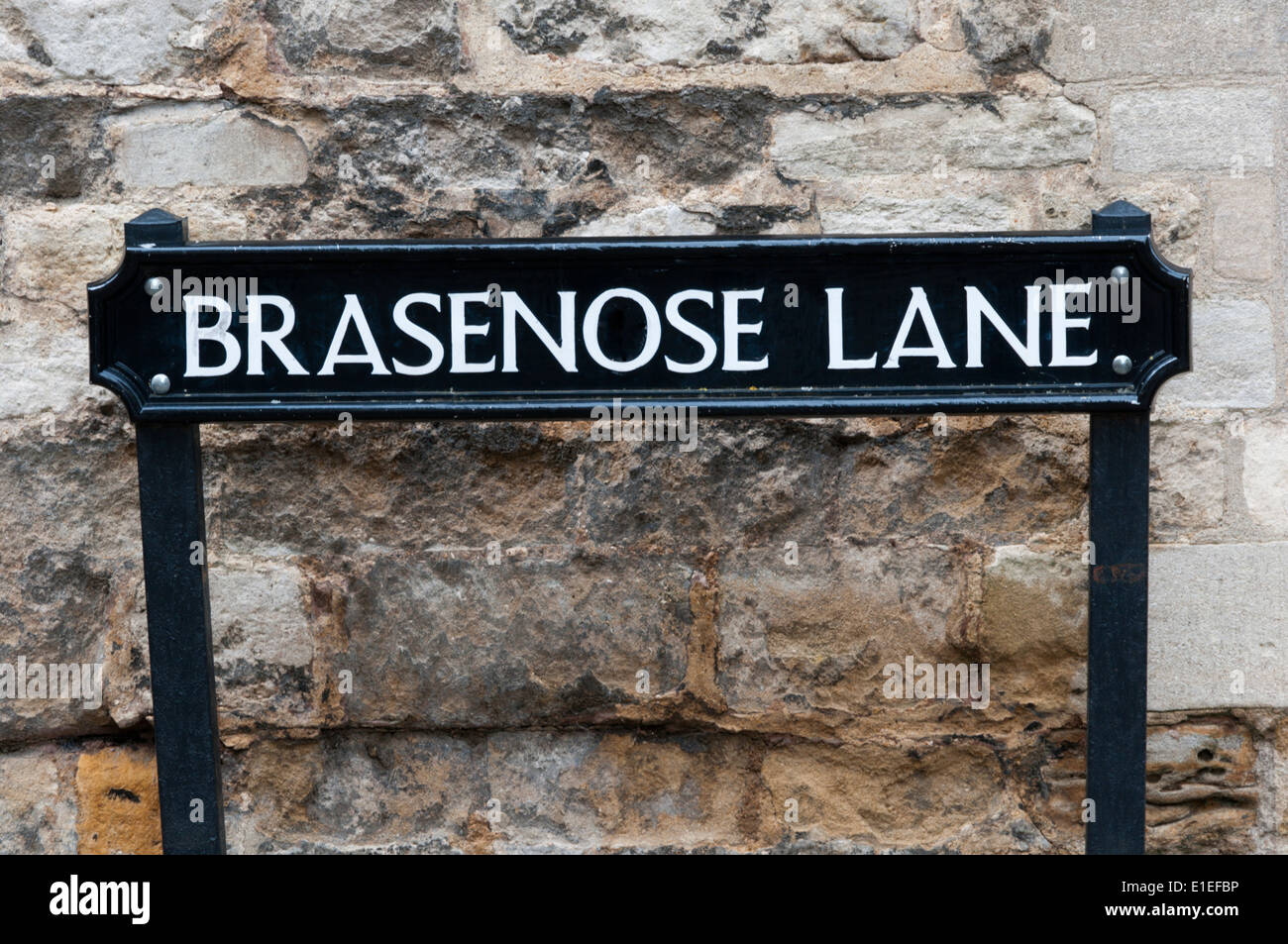 Brasenose Lane street name sign in Oxford, England - Stock Image