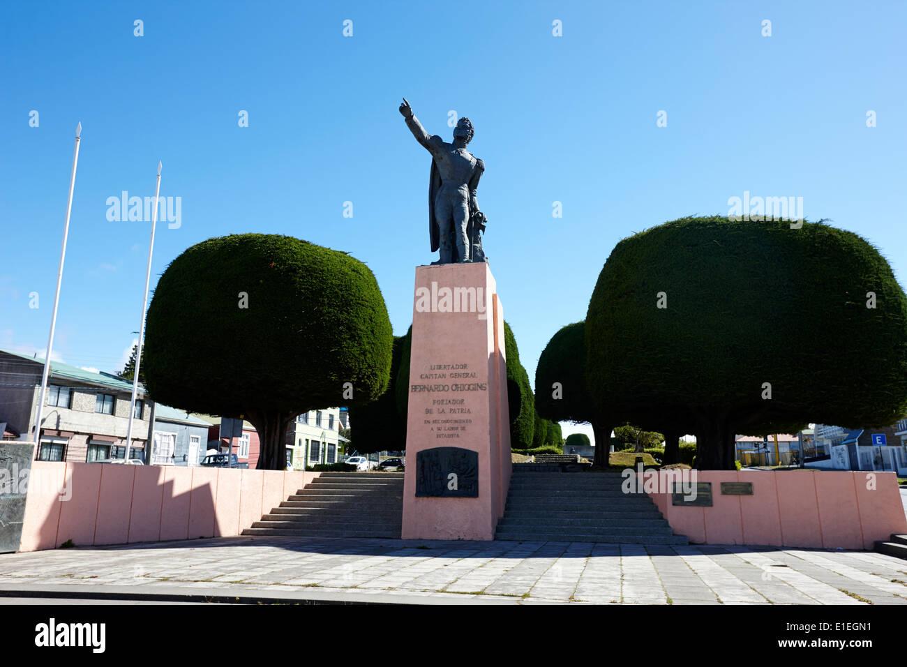 statue of libertador bernardo o'higgins Punta Arenas Chile - Stock Image