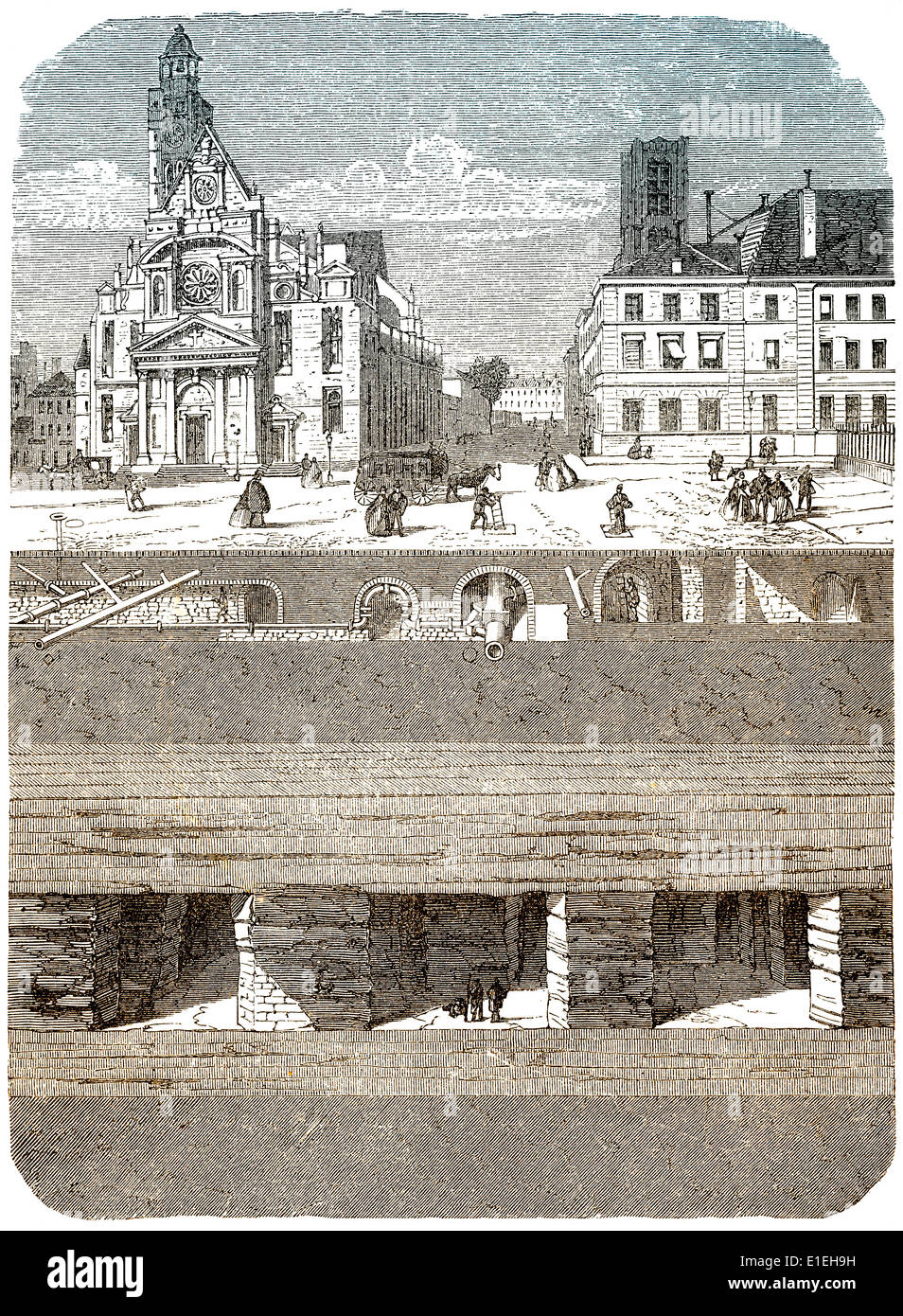 The underground of Paris, France, 19th century - Stock Image